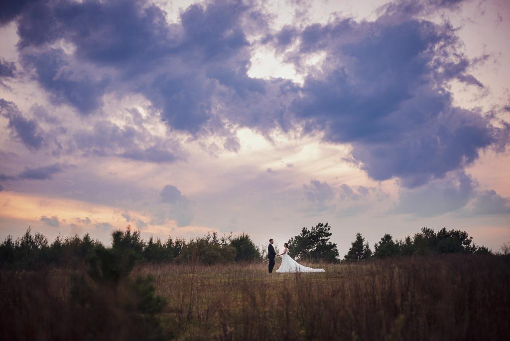 Szeroki kadr młodej pary trzymającej się za ręcę na tle pochmurnego nieba