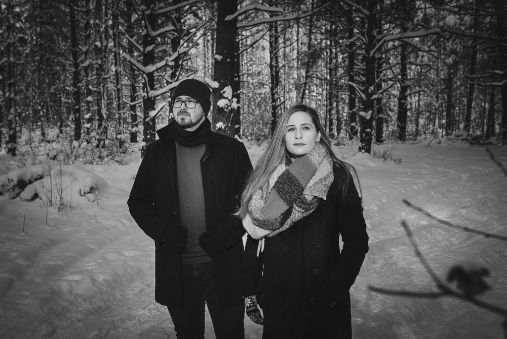 Zimowa sesja narzeczeńska w Białymstoku